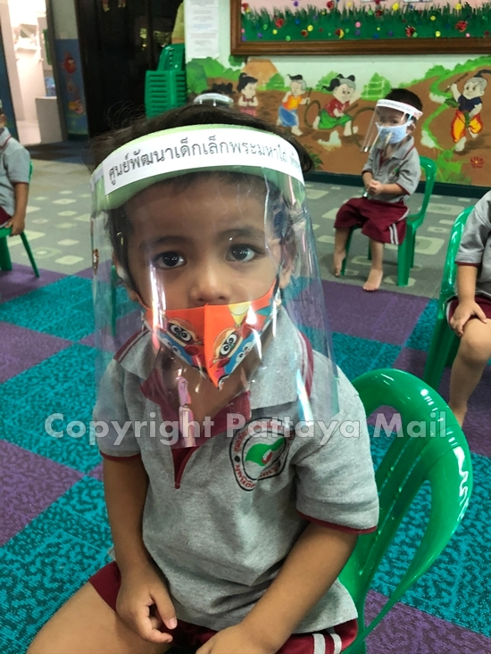 Masks and visors at the Day Care Center.