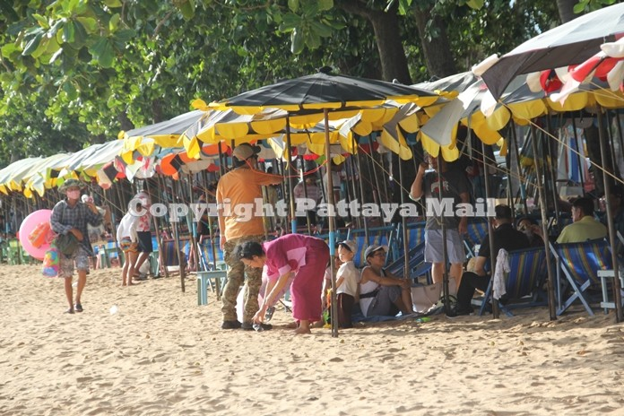 Beach umbrellas and reclining chairs were in high demand during the long weekend.