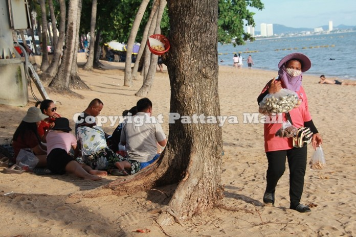 A beach vendor walks passed a tree behind which a family sits in its shade. They are apparently enjoying the fantastic view, the gentle sea breeze, but not the sun.