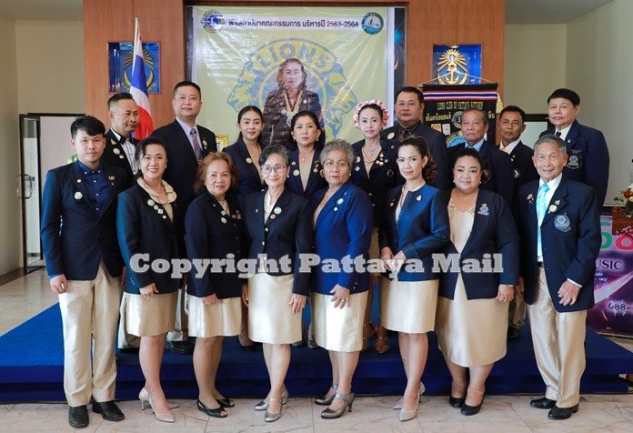 Members of the Lions Club of Pattaya-Sattahip pose for a group photo.