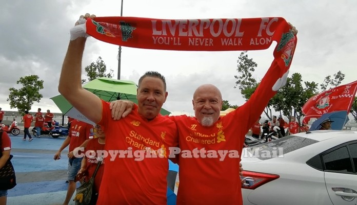 Championship celebrations would not be complete without authentic Pattaya expat football fans.