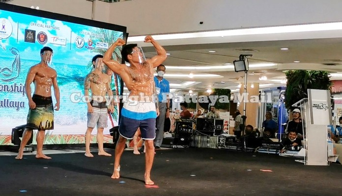 A contestant in the special category shows off his physical prowess.