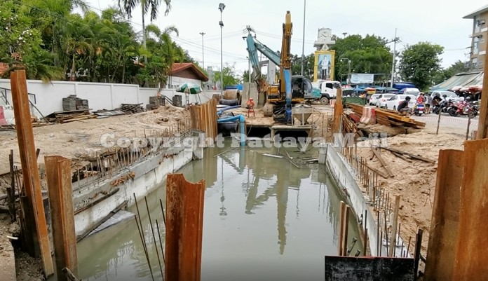 Construction of the parking lot and flood control systems at Lan Pho in progress.