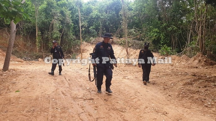 Armed officials of the Banglamung Forest Protection Unit patrol the forest area.