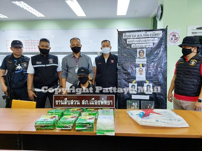 The alleged illegal drugs dealer was arrested in Bangkok and brought back to Pattaya police station for further investigation.