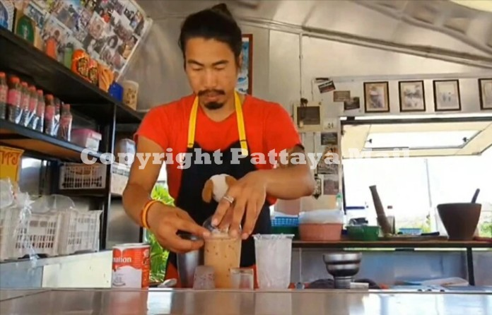 Ex tour guide Kumjan Promaruk makes a living selling exotic somtum dishes and a variety of drinks.