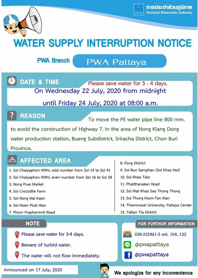 Pattaya water supply interruption and affected areas notice (Provincial Waterworks Authority).