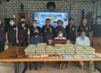 Pattaya police seized 66 kilograms of marijuana, crystal methamphetamine and piles of cash when they smashed a major drug network stretching from Pattaya to Saraburi.