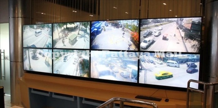 A close up of the screens which monitor traffic and road intersections and in crime risk areas.