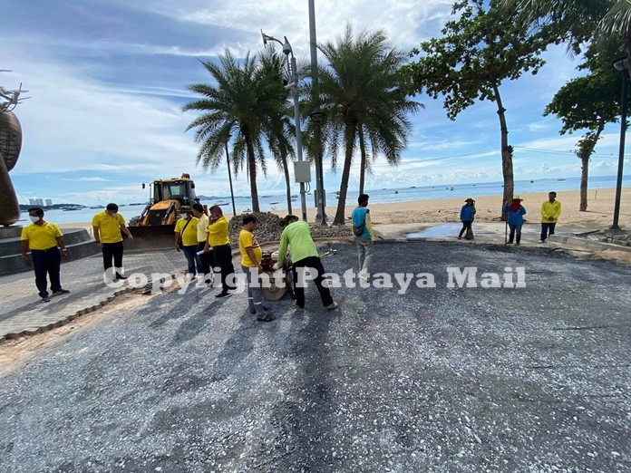 The promenade on Beach Road is in the process of repairs and resurfacing.