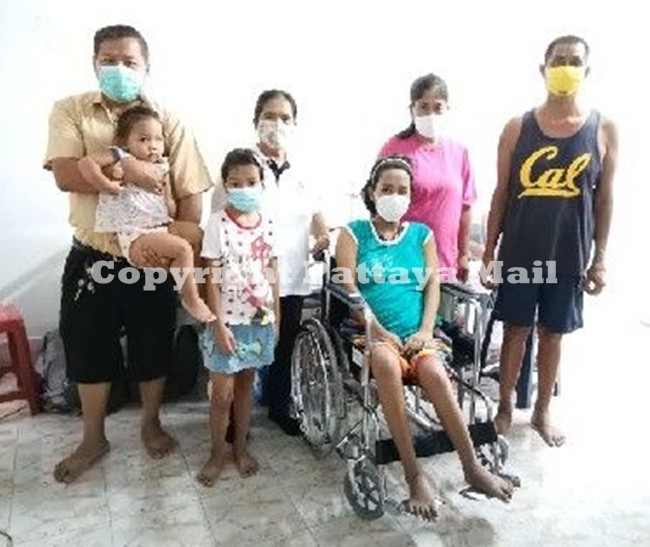 The hapless 26-year-old Pattamaporn Sadee or Nong Nui sits in her new wheelchair donated by a Pattaya generous business operator.